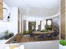 Äta middag kökdesign i en modern stil med en äta middag tabell och Arkivfoton