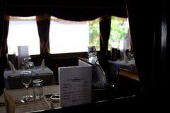 Äta middag kabinen av pustande Billy - ångadrevet i Belgrave, Melbourne, Australien arkivfoto