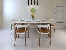 Äta middag modern stil för tabellstolar royaltyfri bild