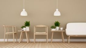 Äta middag område i coffee shop eller restaurangen - tolkning 3D Arkivfoto