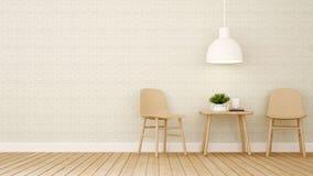 Äta middag område i restaurangen eller coffee shop - tolkning 3D Royaltyfria Foton