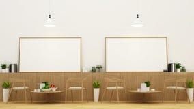 Äta middag område och ramen i restaurangen eller coffee shop - 3D Renderin Arkivfoto