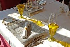 äta middag set tabell Royaltyfri Foto