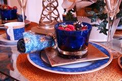 äta middag set tabell upp Royaltyfri Fotografi