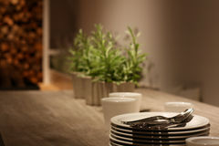 äta middag tabell Fotografering för Bildbyråer