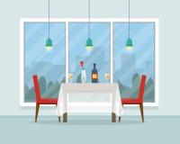 Äta middag tabellen för datum med exponeringsglas av vin vektor illustrationer