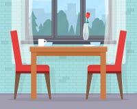 Äta middag tabellen för datum med exponeringsglas av vin stock illustrationer