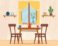 Äta middag tabellen i kök med stolar stock illustrationer