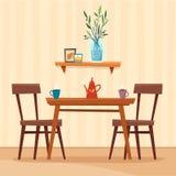 Äta middag tabellen i kök med stolar, koppar och tekannan stock illustrationer
