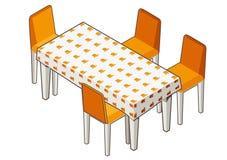 Äta middag tabellen med den blommiga bordduken och stolar Fotografering för Bildbyråer
