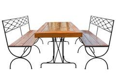 Äta middag tabellen och bänken Arkivfoto