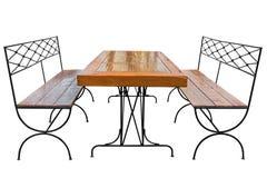Äta middag tabellen och bänken royaltyfri bild