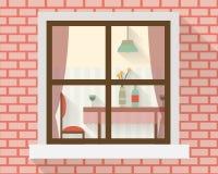 Äta middag tabellen till och med fönstret stock illustrationer