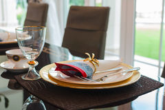Äta middag tabelluppsättningen Royaltyfri Foto