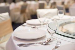 Äta middag uppsättningen på tabellen Arkivbild