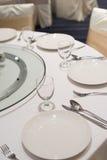 Äta middag uppsättningen på tabellen Arkivfoton