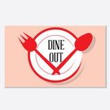 Äta middag ut restauranglogoen Arkivbilder