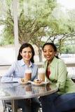äta middag ut två kvinnor Royaltyfri Foto