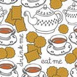 äta mig dricker mig tea och kakor Royaltyfri Foto