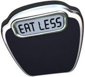 Äta mindre ord som skalan förlorar vikt bantar stock illustrationer
