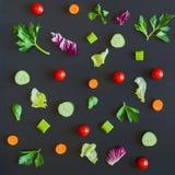 Äta modellen med rå ingredienser av sallad Arkivfoton
