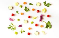 Äta modellen med rå ingredienser av sallad, grönsallatsidor, cu Arkivbild