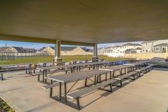 Äta område på parkera i Eagle Mountain i vinter arkivfoton