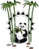 Äta pandan med en bambufilial ocks? vektor f?r coreldrawillustration royaltyfri illustrationer