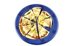 äta pizza som är klar till Royaltyfri Foto