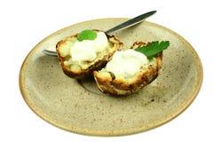 äta potatisen som är klar till Royaltyfri Fotografi