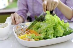 Äta sallad, sunt mål Royaltyfri Foto