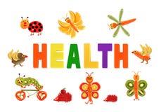 äta som är sunt Små roliga grönsaker runt om ordet HÄLSA royaltyfri illustrationer