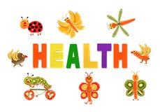 äta som är sunt Små roliga grönsaker runt om ordet HÄLSA vektor illustrationer