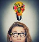 Äta sund idé och banta spetsbegreppet royaltyfria bilder