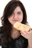 äta teen rostat bröd royaltyfri fotografi