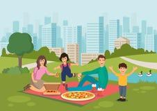 Äter den lyckliga familjen för tecknade filmen pizza på picknick parkerar in royaltyfri illustrationer