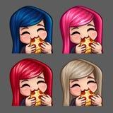 Äter den lyckliga kvinnlign för sinnesrörelsesymboler pizza med långa hår för sociala nätverk och klistermärkear Royaltyfria Foton