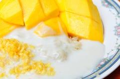 Äter den tropiska efterrätten för thailändsk stil, limaktiga ris med mango Royaltyfri Bild