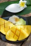 Äter den tropiska efterrätten för thailändsk stil, limaktiga ris med mango Royaltyfri Fotografi