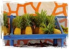 Äter lunch för grönsaken för tropiska frukter för ananas den sunda marknaden Arkivbilder
