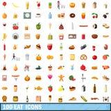 100 äter symboler ställde in, tecknad filmstil Arkivfoton