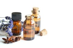 Ätherische Öle für Aromatherapie Stockbild