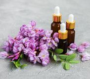 Ätherische Öle und rosa Akazienblumen lizenzfreie stockfotos
