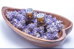 Ätherisches Öl im Lavendel Lizenzfreies Stockbild