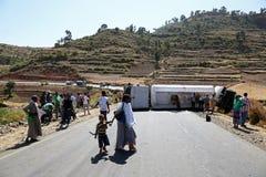 Äthiopien, Addis Abeba im Januar 2015 Unfall eines Diesel-LKWs, REDAKTIONELL Lizenzfreies Stockbild