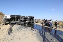Äthiopien, Addis Abeba im Januar 2015 Unfall eines Diesel-LKWs, REDAKTIONELL Lizenzfreie Stockfotografie
