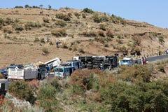 Äthiopien, Addis Abeba im Januar 2015 Unfall eines Diesel-LKWs, REDAKTIONELL Lizenzfreie Stockfotos