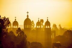 Äthiopische orthodoxe Kirche an der Dämmerung Lizenzfreie Stockfotografie
