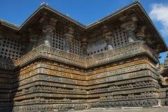 Äußere Ansicht Hoysalesvara-Tempel, Halebid, Karnataka Stockfotografie