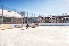 Äußere Hockeyeisbahn lizenzfreie stockfotos